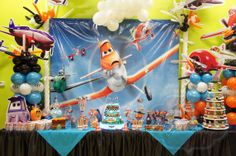 Disney planes theme party desert table, candy buffet
