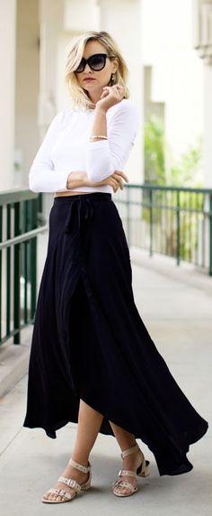 Black, Irregular Hem, Maxi Skirt.