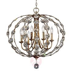 The Elstead Lighting Leila 6 Light Chandelier is in a Burnished Silver finish with inset Sunflower Shape Bauhinia crystals. The Feiss Leila Cage Style Chandelier is available to buy from Luxury Lighting. Chandelier En Argent, Silver Chandelier, Chandelier Ceiling Lights, Pendant Chandelier, Ceiling Pendant, Pendant Lighting, Light Pendant, Chandelier Ideas, Crystal Chandeliers