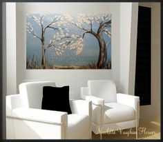 ORIGINAL Large 3ft x 2ft  gallery wrap canvas-Contemporary impasto  modern  abstract  landscape trees painting by Nicolette Vaughan