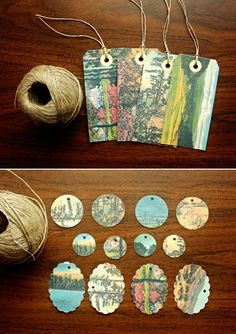 Upcycled Gift Tags - I like the reinforcer stickers around the tag holes with the natural twine