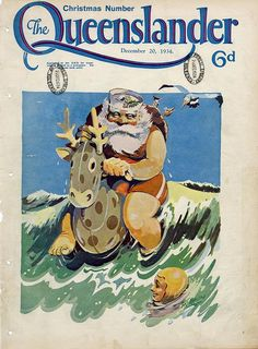 Poster Cover from The Queenslander Christmas 1934 - Surfing Santa