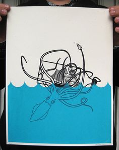 2 color screenprint of a baby squid fighting a ship in a bottle.