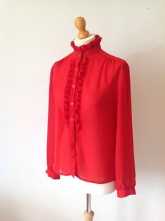 Vintage 80s 1980s Ladies Red Ruffles C&A Shirt by baileysbits