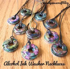 Alcohol Ink Washer Necklaces- fun for Pinata Colors | Crafts For Teens