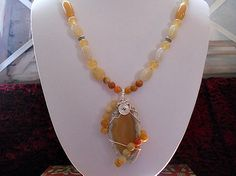 Wire Wrapped Agate Stone Geode Necklace Set by AprilSnowJewelry, $28.00