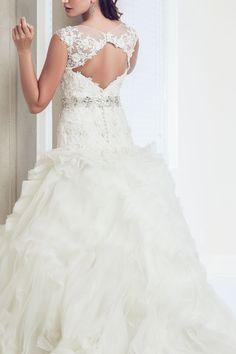 Daphne - A-Line Bateau Sleeveless Sheer Chiffon Wedding Dress - Ophelia Contessa White on White White Wedding Dresses, Wedding Gowns, Lace Wedding, Sheer Chiffon, Collection, Fashion, Wedding Frocks, Moda, Bridal Gowns