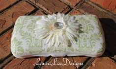 Sage Green Damask with Ivory Flower by CrystalCreations108 on Etsy, $10.00