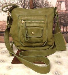 Linea Pelle Dylan Green Leather Cross Body Shoulderbag Handbag Purse | eBay
