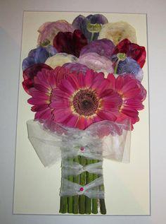 Ramo de novia prensado y enmarcado,  con Gerberas burdeos , ranúnculos y tulipanes