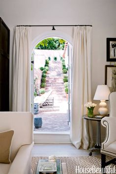 A living room side door leads to the back terrace.