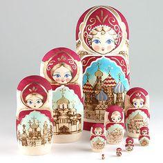 Set Of 10 Russian Churches Nesting Dolls