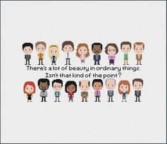 The Office Inspired Cross stitch Pattern - Michael Scott - Jim and Pam Dwight Schrute - Instant Down<<< Gabe needs to be taller Cross Stitching, Cross Stitch Embroidery, Cross Stitch Patterns, Bead Patterns, Office Memes, Office Quotes, The Office Show, The Office Season 9, Pam The Office