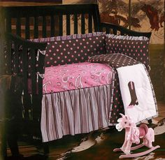 Western Paisley Crib Bedding - will brighten up your little girls nursery. The combination of colors and patterns creates a fun, girlish, western themed crib bedding set. Western Crib, Western Baby Bedding, Western Babies, Baby Crib Bedding Sets, Crib Sets, Western Decor, Baby Cribs, Western Nursery, Western Theme
