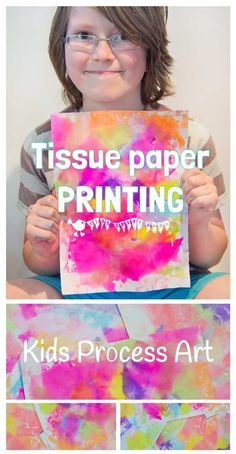 TISSUE PAPER PRINTING - A bright and vibrant process art for kids. You\'ll love how colourful and fun this kids painting idea is! #kidscraftroom #bleedingtissuepaper #bleedart #printing #tissuepaper #kidsart #processart #painting #kidspainting #kidsactivities #kidscrafts #craftsforkids #tissuepaperbleeding #artideas via @KidsCraftRoom