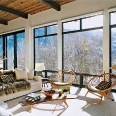 Huge windows and view from this cosy, relaxed room full of amazing styling and some of my fav chairs! Regram from @Kelly Teske Goldsworthy Hutchins and Manor. #thedesignhunter #designerchairs #oversizedwindows #steelwindows #interiors #interiordecorating #view #vista