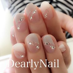 夏/オールシーズン/オフィス/ブライダル/ハンド - DearlyNailのネイルデザイン[No.3253509]|ネイルブック Cute Nail Polish, Cute Acrylic Nails, Gel Nails, Nail Techniques, Nails Design With Rhinestones, Finger Nail Art, Japanese Nail Art, Elegant Nails, Nail Art Hacks