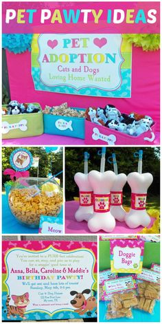 """What a fun cat and dog """"pawty"""" in a pink and blue color theme, with favors and activities.  See more party ideas at CatchMyParty.com!"""