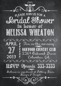 Chalkboard Vintage Typography Bridal Shower Invitation - Printable