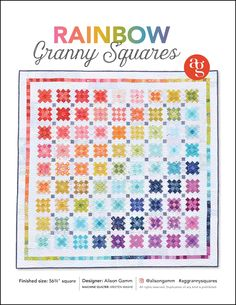 Rainbow Granny Squares PDF Quilt Pattern   Etsy Liberty Quilt, Quilt Patterns, Craft Supplies, Granny Squares, Scrap, Diagram, Rainbow, Quilts, Crochet