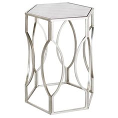 Hexagonal side table in silver leaf.  <b>As seen in Traditional Home February-March 2014. (refer to photo 2)</b>