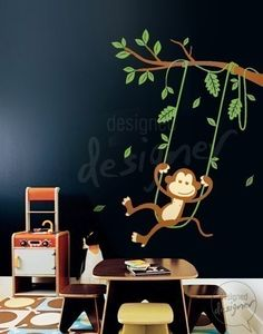 Kid Wall Decal Wall Sticker - Monkey Swinging on a Tree wall decal - dd1017