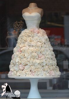 Sculpture   bridal gown dress cake , ivory and hints of blush pink ruffles.~ all edible