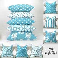 Aqua Blue Throw Pillow Covers MANY SIZES Coastal Blue by DeliciousPillows