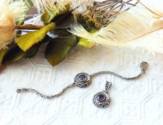 Vintage Designer Sterling Silver Amethyst Bracelet and Pendant Set by bijoullery on Etsy
