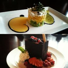 Dinner and dessert? How about a crab tower and chocolate bag from McCormick & Schmick's in Skokie.