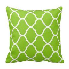 Key Lime Green Villa Print Throw Pillows - Green Throw Pillows