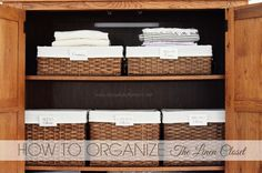 Linen closet organization ABFOL - I like the badges that they used to label the baskets