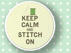 Keep Calm and Stitch On Text Cross Stitch PDF by andwabisabi, $5.00