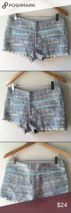 """Anthro pastel woven shorts Pastel blue and green shorts from Anthropologie. Material is a wool, polyester and acrylic blend.  Hand wash.  Used condition, no damage that is noticeable, but they do not look brand new (normal wear), measures 16"""" across top, 9"""" long Anthropologie Shorts"""