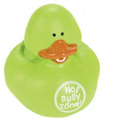"""Anti-Bullying Rubber Duck - Green - $1.00 : Ducks Only!, Exclusively Ducks - Help stop bullying with cute reminders and rewards. Green - """"No Bully Zone"""""""