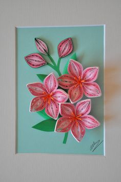 3D pink flowers paper quilling shadow box by NhiArt on Etsy, $48.00
