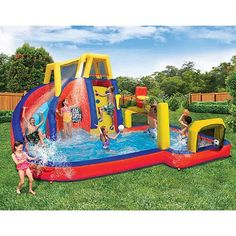 Banzai Sports Water Park Inflatable for Kids Outdoor Activity Gym Ideal for Gift Banzai Water Slide, Kids Water Slide, Water Slides, Backyard Water Parks, Cool Pool Floats, Inflatable Water Park, Bouncy House, Splash Park, Outdoor Activities For Kids