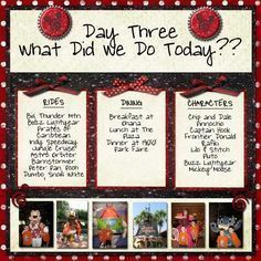 disney layout - I love this idea!! Do this for each day and then after this page put the pages with pictures!! | Disney Scrapbooks | Disney Scrapbooking | Disney Scrapbooking Layouts | Disney #scrapbook Ideas | Disney Scrapbooking Ideas |