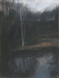 """Mykolé, """"Winterscape 1"""", 2012, 32 x 24 cm, Pastels, ink, paper. Contemporary landscape paintings."""