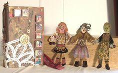 """Altered Book, """"The Doll Maker"""" Mixed Media, artist Pamela Vosseller."""
