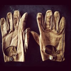 Well-worn driving gloves