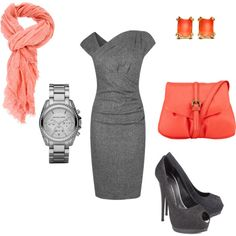 gray & peach work wear