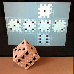 hama perler beads dice (or box) pattern Pixel Beads, 3d Perler Bead, Perler Bead Templates, Hama Beads Design, Diy Perler Beads, Perler Bead Designs, Fuse Beads, Pearler Beads, Melty Bead Patterns