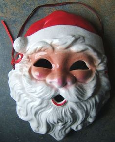 Vintage Santa Claus Christmas Ceramic Mask Wall Decoration Midwest Taiwan 1960s