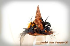 Black and Orange Witch Hat / Wicked Witch / Halloween Costume / Halloween Decoration / Wicca Hat / Halloween Wedding / Witch Decor