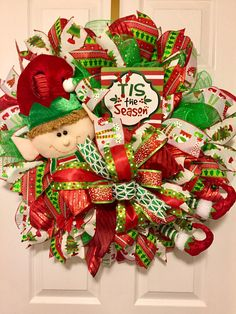 Christmas elf wreath for front door, Christmas welcome wreath, holiday home decor, red and green col Christmas Mesh Wreaths, Christmas Swags, Christmas Door, Christmas Crafts, Christmas Ornaments, Christmas Time, Christmas Ideas, Winter Wreaths, Office Christmas