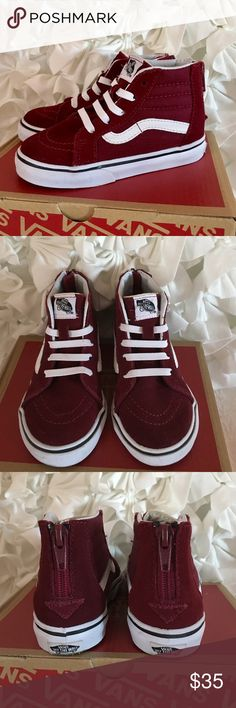 Sk8-Hi Zip Windsor The Sk8-Hi Zip combines the Vans legendary lace-up high top with a zipper entry at the heel, sturdy canvas and suede uppers, signature waffle rubber outsoles, and padded collar and heel counters for support and flexibility. Only worn once unisex toddler shoe. Color is windsor wine which is like a burgundy Vans Shoes Sneakers