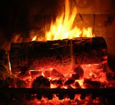 A fire on a cold winter night.