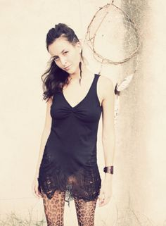 black shredded Tank top / dress