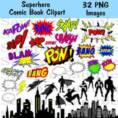 Superhero Clipart Photo booth Party Props Set  32 by BridalBust